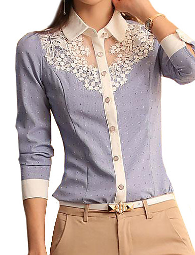 cheap Women's Tops-Women's Daily Weekend Shirt - Solid Colored Blue & White, Lace Shirt Collar Light Blue / Spring