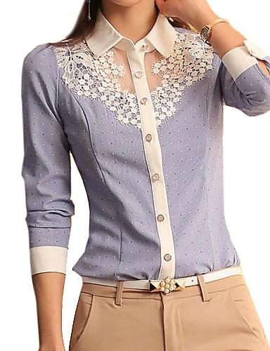 preiswerte Damen Oberteile-Damen Solide Hemd, Hemdkragen Spitze Blau & Weiß Hellblau / Frühling