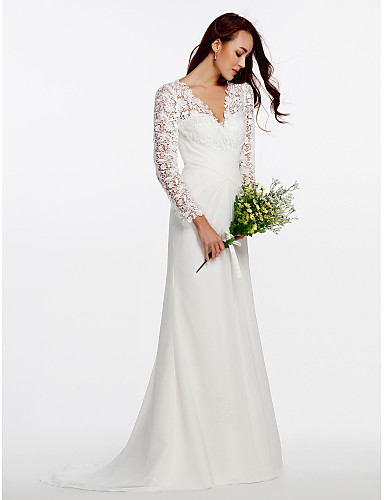 e859d890df Sheath   Column V Neck Sweep   Brush Train Chiffon   Floral Lace  Made-To-Measure Wedding Dresses with Buttons   Lace   Criss-Cross by LAN  TING BRIDE® ...