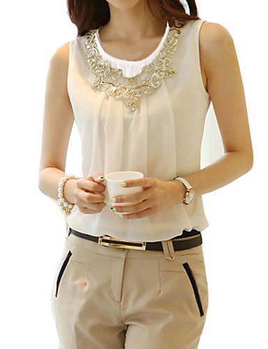 cheap Women's Tops-Women's Plus Size Solid Colored Lace Beaded Blouse Street chic Daily Weekend White / Black