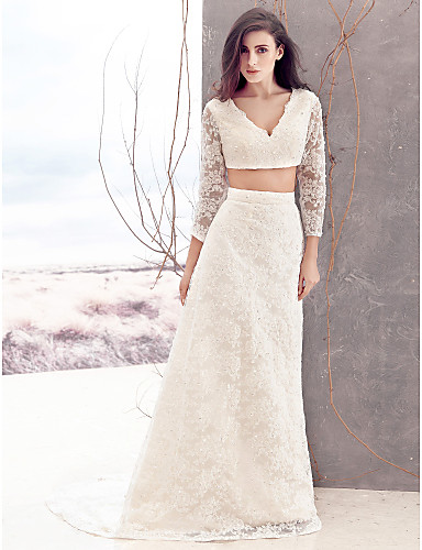 f231a236a3 Lanting Bride Sheath Column Wedding Dress-Sweep Brush Train V-neck Lace  4238406 2019 –  189.99