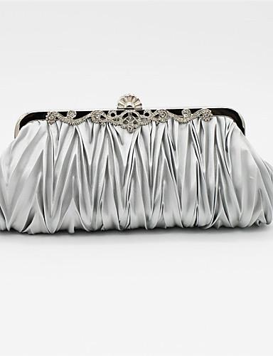 preiswerte Elegante Taschen für Damen-Damen Crystal / Strass Satin Abendtasche Strass Kristall Abendtaschen Solide Rosa / Hellgrau / Rosa / Hochzeitstaschen / Hochzeitstaschen