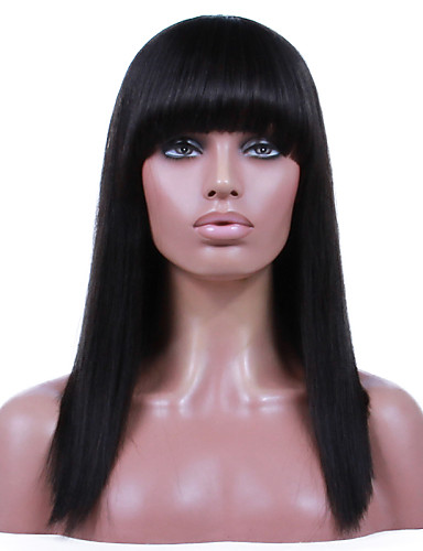 povoljno Perike s ljudskom kosom-Ljudska kosa Perika s prednjom čipkom bez ljepila Lace Front Perika Bob frizura Ravne šiške stil Brazilska kosa Ravan kroj Perika 130% 150% Gustoća kose s dječjom kosom Prirodna linija za kosu