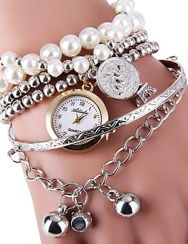 Dam Armbandsklocka wrap watch Quartz Silver / Guld Heta Försäljning Ramtyp damer Pärlor Mode - Guld Silver Ett år Batteriliv / SSUO LR626