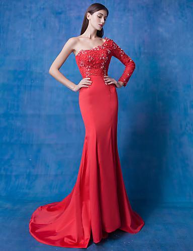 cheap for discount 65767 79c6f [$99.99] Vestito - Rosso Sera A sirena Con decorazione gioiello Strascico a  terra Di pizzo / Tulle