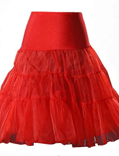 preiswerte Ein Retro - Rock-Damen Balletröckchen Party Alltag Ausgehen Baumwolle A-Linie Röcke - Solide Gitter / Lang Gelb Rot Rosa M L XL