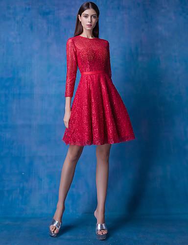 Vestidos de fiesta rojo con encaje