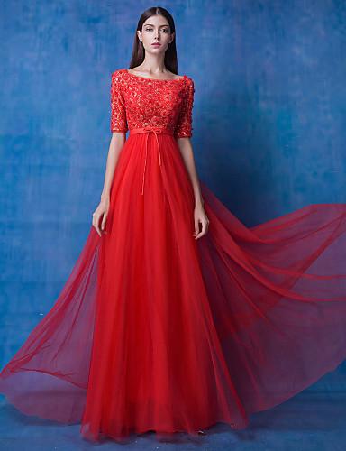 Vestido - Vermelho Festa Formal A-Line Decorado com Bijuteria Longo Renda / Tule de 4795027 2018 ...