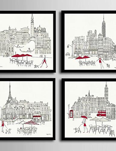 preiswerte Architektur gerahmte Kunst-Gerahmtes Leinenbild Gerahmtes Set - Architektur PVC Darstellung Wandkunst