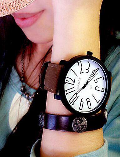 preiswerte YAZOLE®-Damen Uhr Armbanduhr Quartz Leder Schwarz / Braun Armbanduhren für den Alltag Analog damas Modisch Elegant Schwarz / Weiß Schwarz Weiß / Braun / Ein Jahr / Ein Jahr / KC 377A