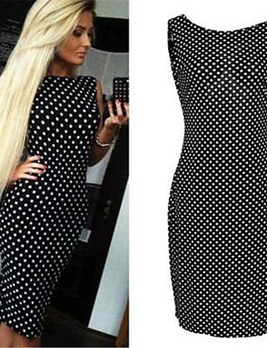 6df46536997a Γυναικεία Φόρεμα Σέξι   Κομψό στυλ street Εφαρμοστό Πουά Μίντι ...