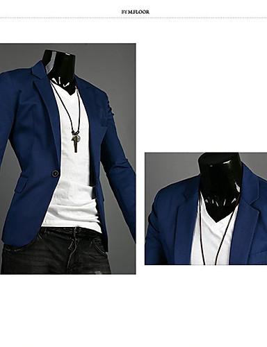 levne Pánské blejzry a saka-Pánské Práce Standardní Blejzr, Jednobarevné Dlouhý rukáv Polyester Námořnická modř / Zelená / Světle modrá / Obchodní příležitostné / Štíhlý