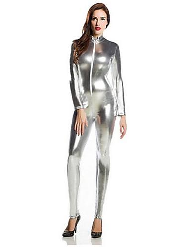 billige Zentai-Zentai Drakter Catsuit Huddrag Ninja Voksne Spandex Lasteks Cosplay-kostymer Kjønn Herre Dame Sølv Ensfarget Halloween / Høy Elastisitet