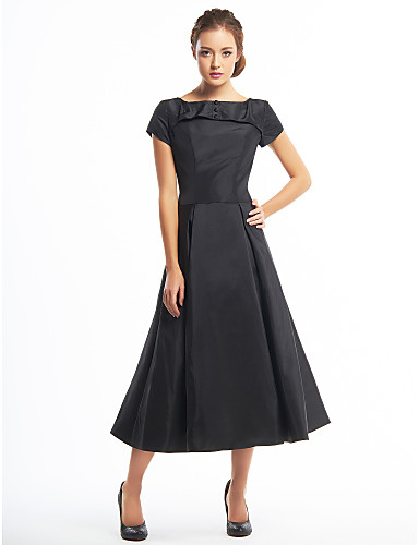 cheap Cocktail Dresses-A-Line Elegant Little Black Dress Minimalist Homecoming Cocktail Party Dress Boat Neck Short Sleeve Tea Length Taffeta with Buttons 2020