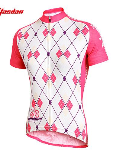 povoljno Biciklističke majice-TASDAN Žene Kratkih rukava Biciklistička majica White+Pink Argyle Bicikl Biciklistička majica Majice Brdski biciklizam biciklom na cesti Prozračnost Quick dry Ultraviolet Resistant Sportski 100