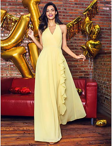 levne Šaty pro slavnostní příležitosti-Pouzdrové Do V Po kotníky Žoržet Šaty s Nabírání podle TS Couture®