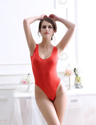 billige Dametopper-Dame Strand / Helg Aktiv U-hals Hvit Svart Rød Skinny Sparkedrakter, Ensfarget En Størrelse Ermeløs