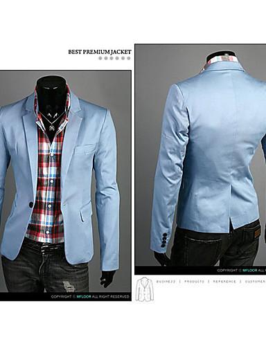 voordelige Herenblazers & kostuums-Heren Werk Normaal Blazer, Effen Lange mouw Polyester Marineblauw / Groen / Lichtblauw / Business Casual / Slank
