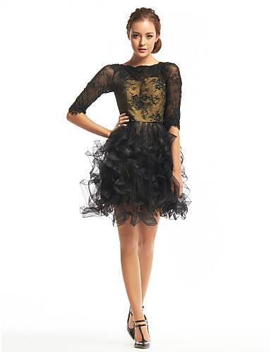cheap Homecoming Dresses-Back To School A-Line Homecoming Prom Dress Bateau Neck Half Sleeve Short / Mini Lace Tulle with Lace 2020 Hoco Dress