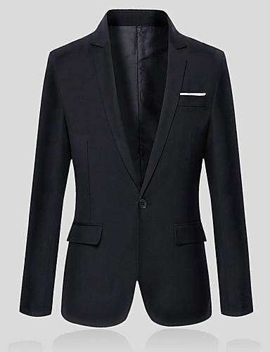 Herr Arbete Vår / Höst Plusstorlekar Normal Blazer, Enfärgad V-hals Långärmad Bomull / Polyester Grå / Vin / Ljusblå / Business Casual / Smal