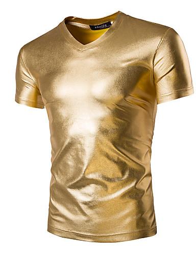 voordelige Heren T-shirts & tanktops-Heren Standaard / overdreven T-shirt Sport Effen Slank Goud / Korte mouw