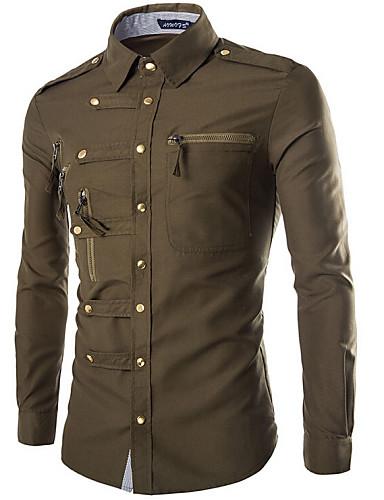 voordelige Herenoverhemden-Heren Militair Standaard Overhemd Effen Klassieke boord Slank Marineblauw / Lange mouw / Lente / Herfst