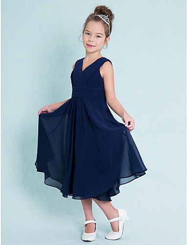 cheap Junior Bridesmaid Dresses-A-Line V Neck Tea Length Chiffon Junior Bridesmaid Dress with Criss Cross / Ruched / Natural