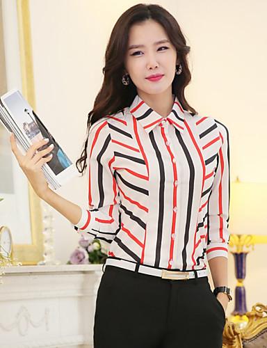 billige Topper til damer-Skjortekrage Store størrelser Skjorte Dame - Regnbue, Kryss Regnbue