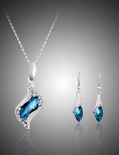 cheap Sterling Silver Jewelry Sets-Crystal Jewelry Set Pendant Necklace Solitaire Marquise Cut Ladies Party Fashion Cute Rhinestone Silver Plated Imitation Diamond Earrings Jewelry Fuchsia / Blue For Party Special Occasion Anniversary