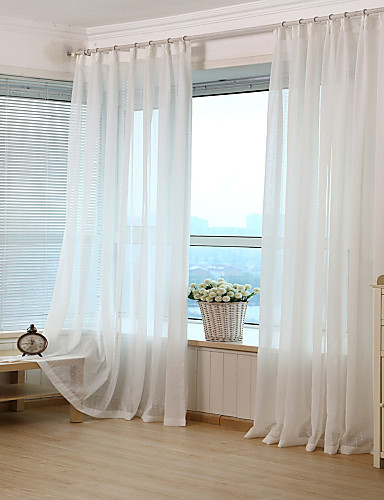 cheap Sheer Curtains-Jacquard Stripe Sheer Curtain (Two Panel)