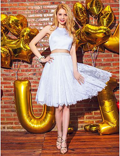 billige Todelte kjoler-Todelt Grime Knelang Blonder / Sateng To deler Skoleball Kjole med Perlearbeid / Blondeinnlegg av TS Couture®