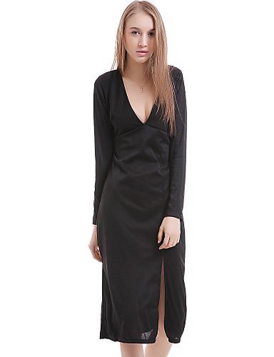 levne Sexy šaty-Dámské Pouzdro Šaty - Jednobarevné, Rozparek Midi Hluboké V