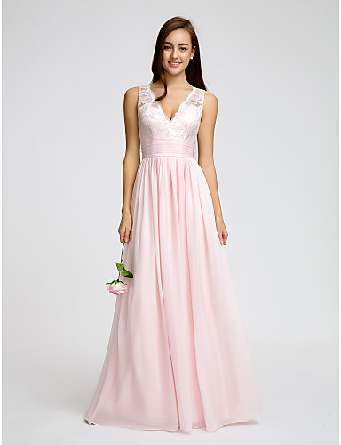 5b8d19e91a A-Line V Neck Floor Length Chiffon   Lace Bodice Bridesmaid Dress with Lace    Sash   Ribbon   Ruched by LAN TING BRIDE®   Open Back 4233353 2019 –   109.99