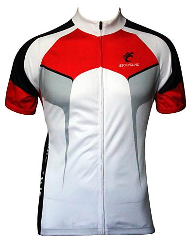 povoljno Odjeća za vožnju biciklom-JESOCYCLING Muškarci Kratkih rukava Biciklistička majica Crna / crvena White+Red Kolaž Bicikl Biciklistička majica Majice Prozračnost Quick dry Ultraviolet Resistant Sportski 100% poliester Odjeća