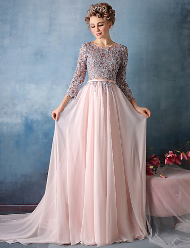 cheap Special Occasion Dresses-A-Line Empire Pink Engagement Formal Evening Dress Jewel Neck Long Sleeve Chapel Train Satin Chiffon Sheer Lace with Pleats Lace Insert 2020