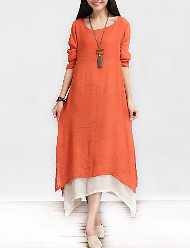 preiswerte Modern umarmt Tradition-Damen Chinoiserie Baumwolle A-Linie Lose Kleid - Mehrlagig, Solide Maxi