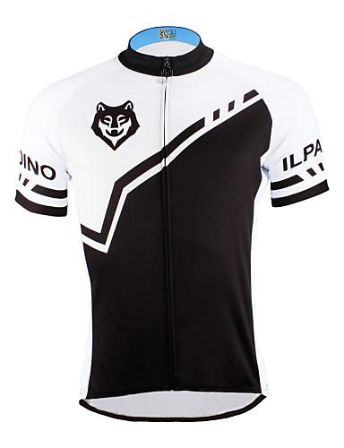 povoljno Odjeća za vožnju biciklom-ILPALADINO Muškarci Kratkih rukava Biciklistička majica Crn Crna s bijelim Vuk Bicikl Biciklistička majica Majice Brdski biciklizam biciklom na cesti Prozračnost Quick dry Ultraviolet Resistant