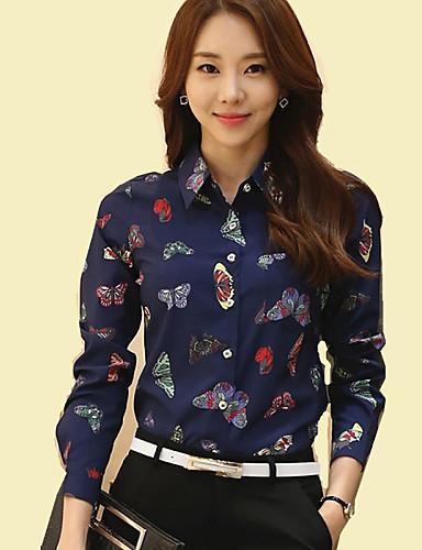 billige Dametopper-Skjortekrage Store størrelser Skjorte Dame - Dyr, Rynket Navyblå / Vår