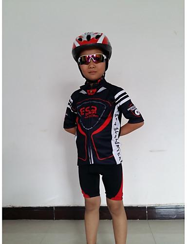 povoljno Odjeća za vožnju biciklom-GETMOVING Muškarci Žene Kratkih rukava Biciklistička majica s kratkim hlačama - Dječji Crveno crno Crna / crvena Bicikl Kratke hlače Biciklistička majica Sportska odijela Prozračnost Anatomski dizajn