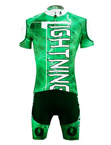 povoljno Odjeća za vožnju biciklom-ILPALADINO Muškarci Kratkih rukava Biciklistička majica s kratkim hlačama Zelen Bicikl Kratke hlače Biciklistička majica Sportska odijela Prozračnost Pad 3D Quick dry Ultraviolet Resistant Povratak