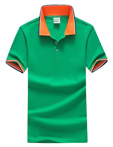 levne Pánská polo trika-Pánské - Barevné bloky Sport Větší velikosti Polo, Základní Košilový límec Štíhlý Šedá / Krátký rukáv / Léto