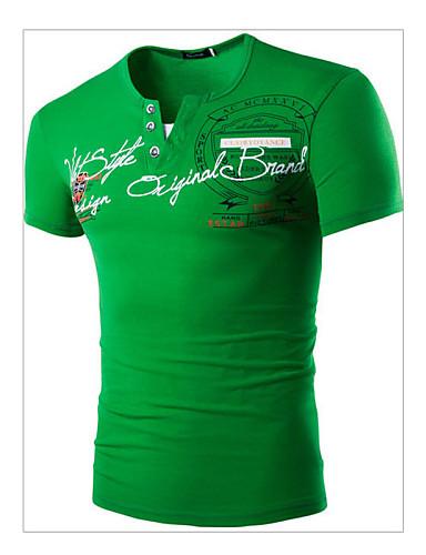 voordelige Heren T-shirts & tanktops-Heren Actief Print T-shirt Katoen, Sport Letter Ronde hals Slank Rood / Korte mouw / Zomer