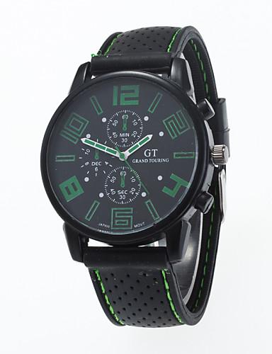 Herr Armbandsur Luftfartsklocka Quartz Silikon Svart Vardaglig klocka Ramtyp Berlock Ledigt Mode - Röd Grön Blå Ett år Batteriliv / Jinli 377