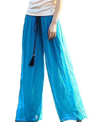 preiswerte Unterteile-Damen Boho Ausgehen Wochenende Lose Breites Bein Hose - Solide Grün Blau Rosa M L XL