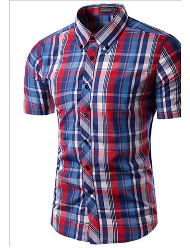 voordelige Herenoverhemden-Heren Print Overhemd Ruitjes Buttondown boord Slank Wijn / Korte mouw / Zomer