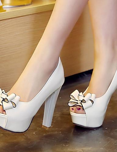 preiswerte Schuhe für die Semesterferien-Damen Blockabsatz / Plattform Schleife Mikrofaser Frühling / Sommer Weiß / Schwarz / Rot / Kleid / EU41