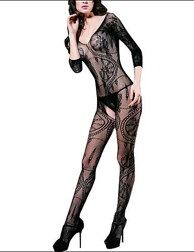 Shaperdiva Womens Black Sexy Sheer Body Stocking Crotchless Fishnet Lingerie  95