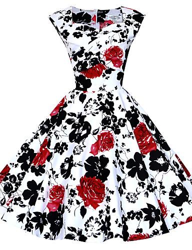 preiswerte Übergrößenkollektion-Damen Übergrössen Ausgehen Retro Baumwolle Hülle / Swing Kleid - Gerüscht, Blumen Knielang Quadratischer Ausschnitt