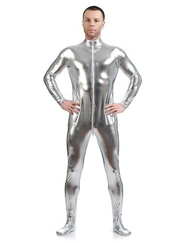 billige Zentai-Skinnende Zentai Drakter Huddrag Ninja Voksne Spandex Lasteks Cosplay-kostymer Kjønn Herre Dame Sølv Ensfarget Halloween / Høy Elastisitet
