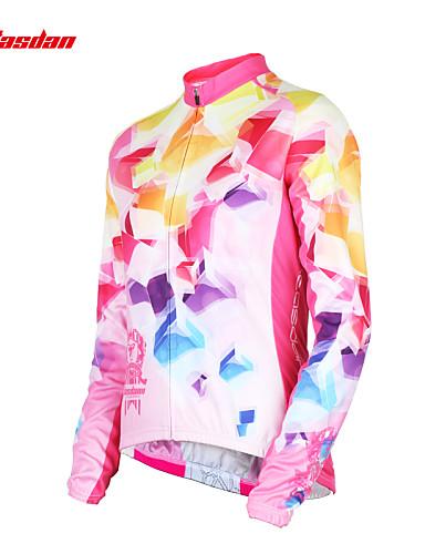 povoljno Biciklističke majice-TASDAN Žene Dugih rukava Biciklistička majica Blushing Pink Duga Bicikl Biciklistička majica Majice Brdski biciklizam biciklom na cesti Prozračnost Quick dry Ultraviolet Resistant Sportski Zima 100